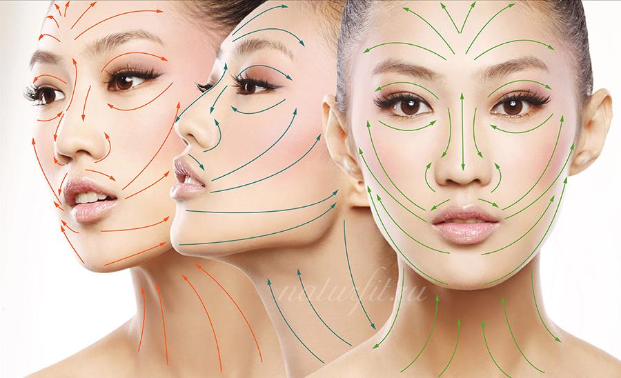 Очищение кожи лица маслом. Массажны линии